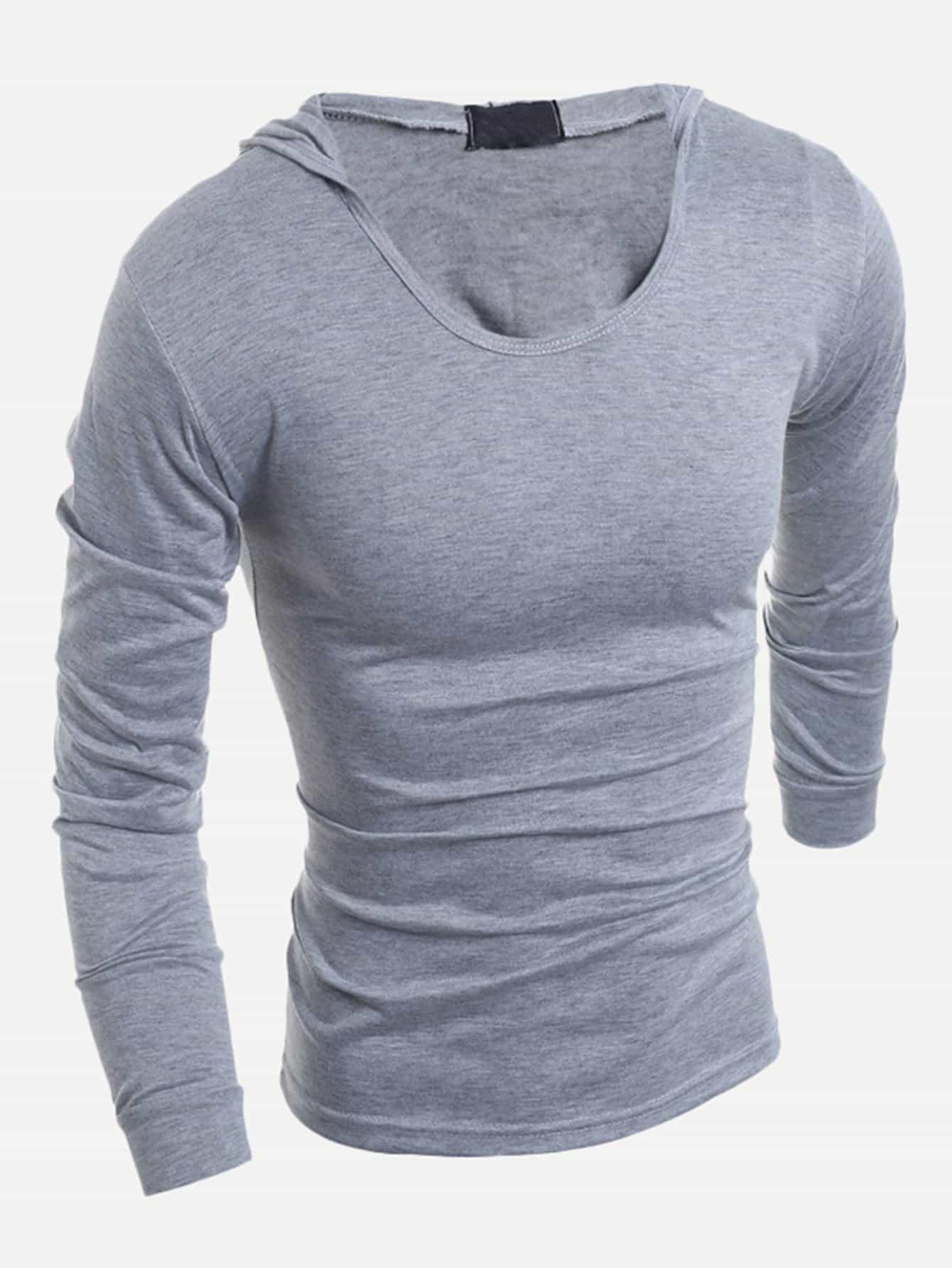 Купить Простая футболка с капюшоном для мужчины, null, SheIn