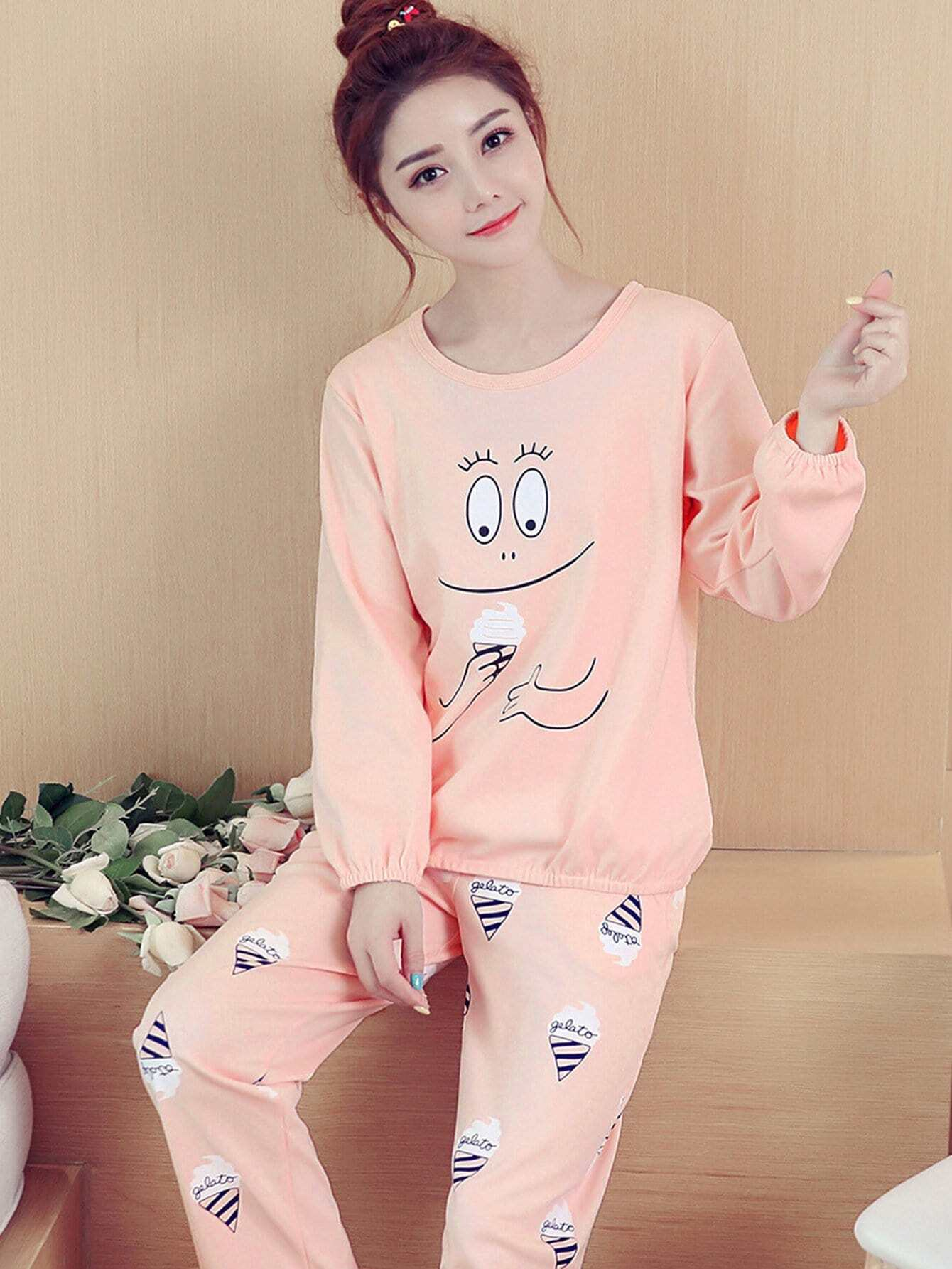 Ice Cream & Smile Face Print Pajama Set