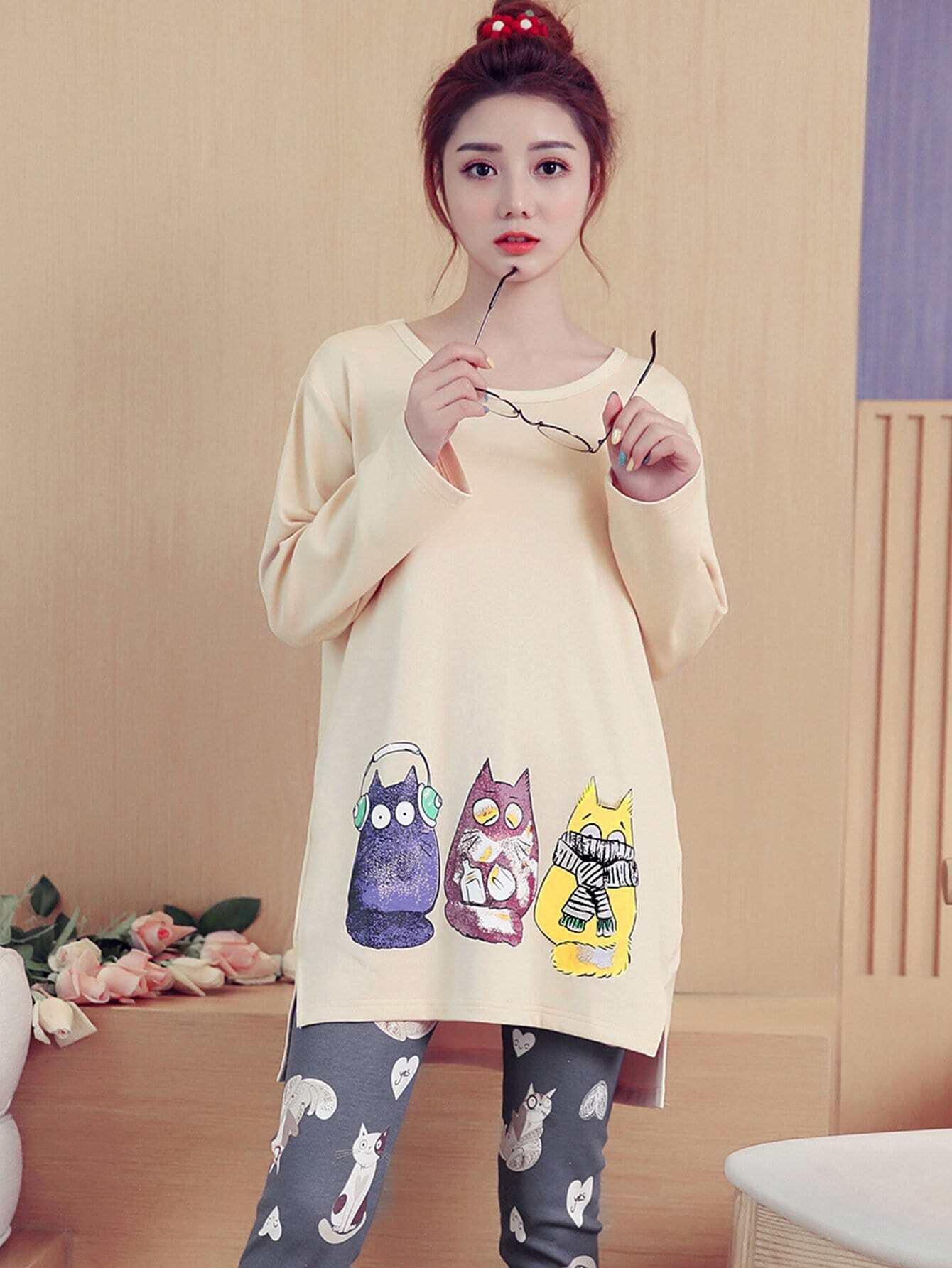 Cat Print Dip Hem Pajama Set