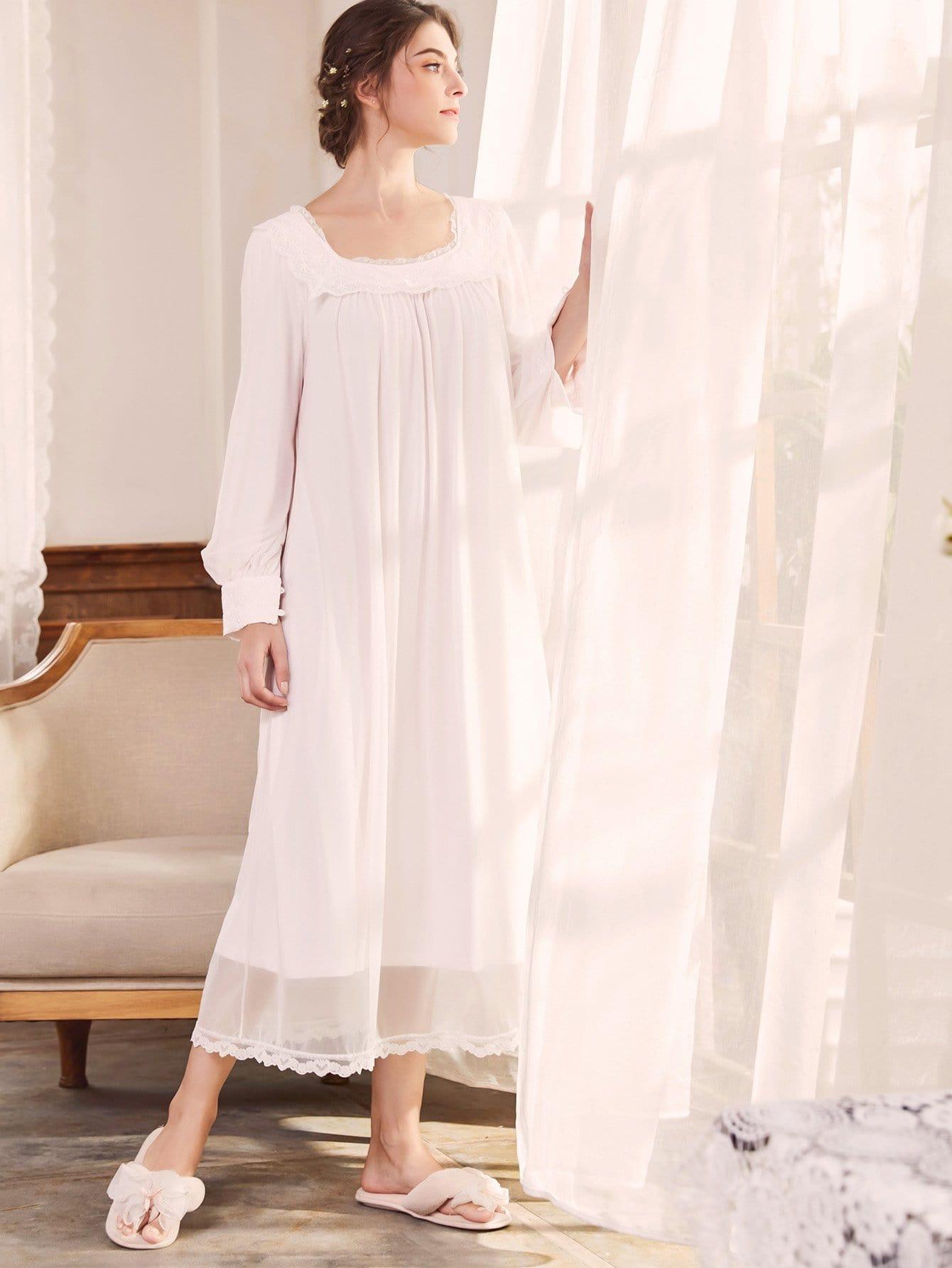 Купить Сетчатая ночная сорочка с кружевными оборками, null, SheIn