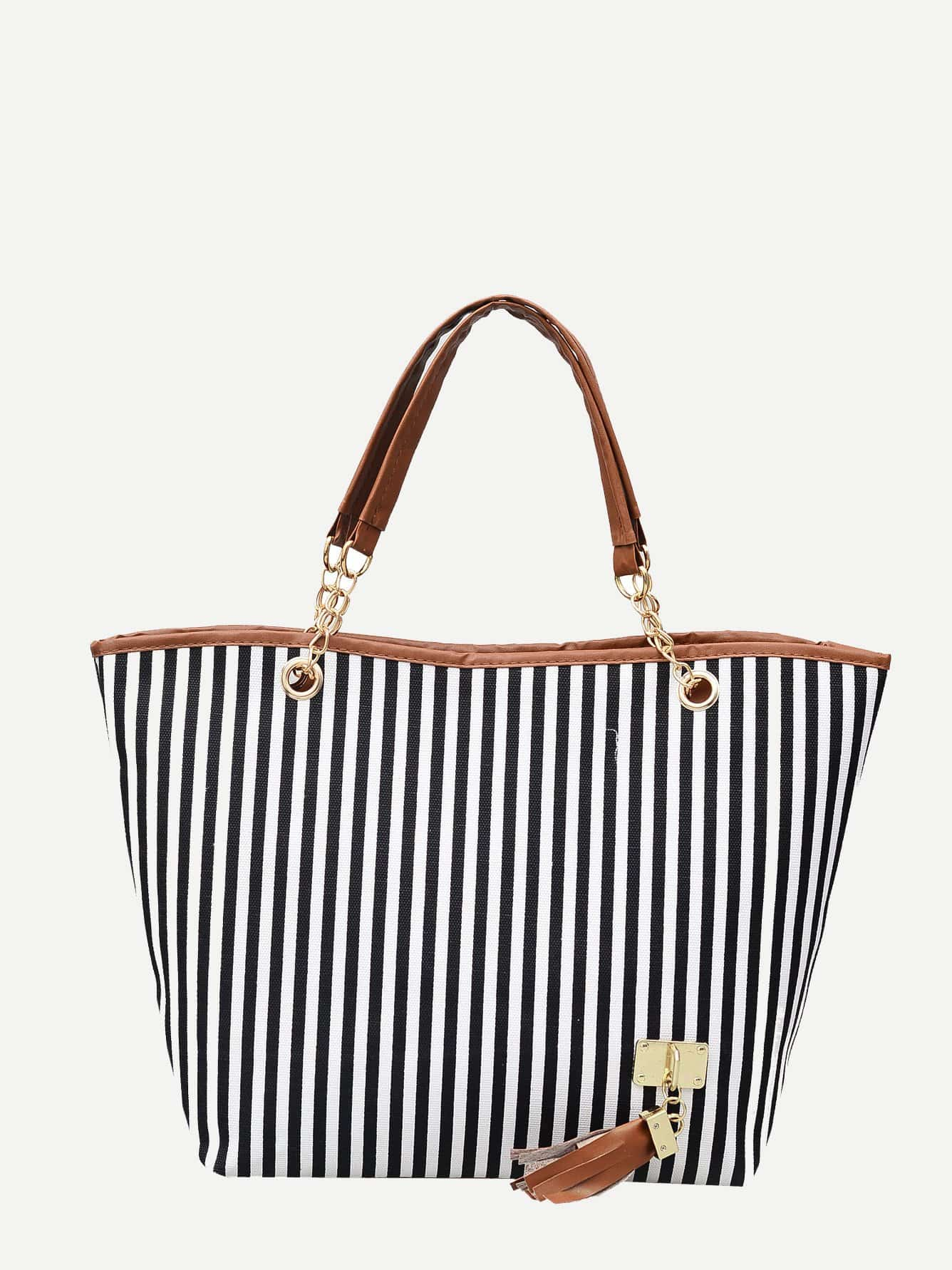 Striped Decor Tassel Tote Bag null