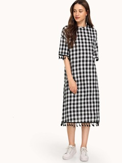 Tassel Trim Gingham Tunic Dress