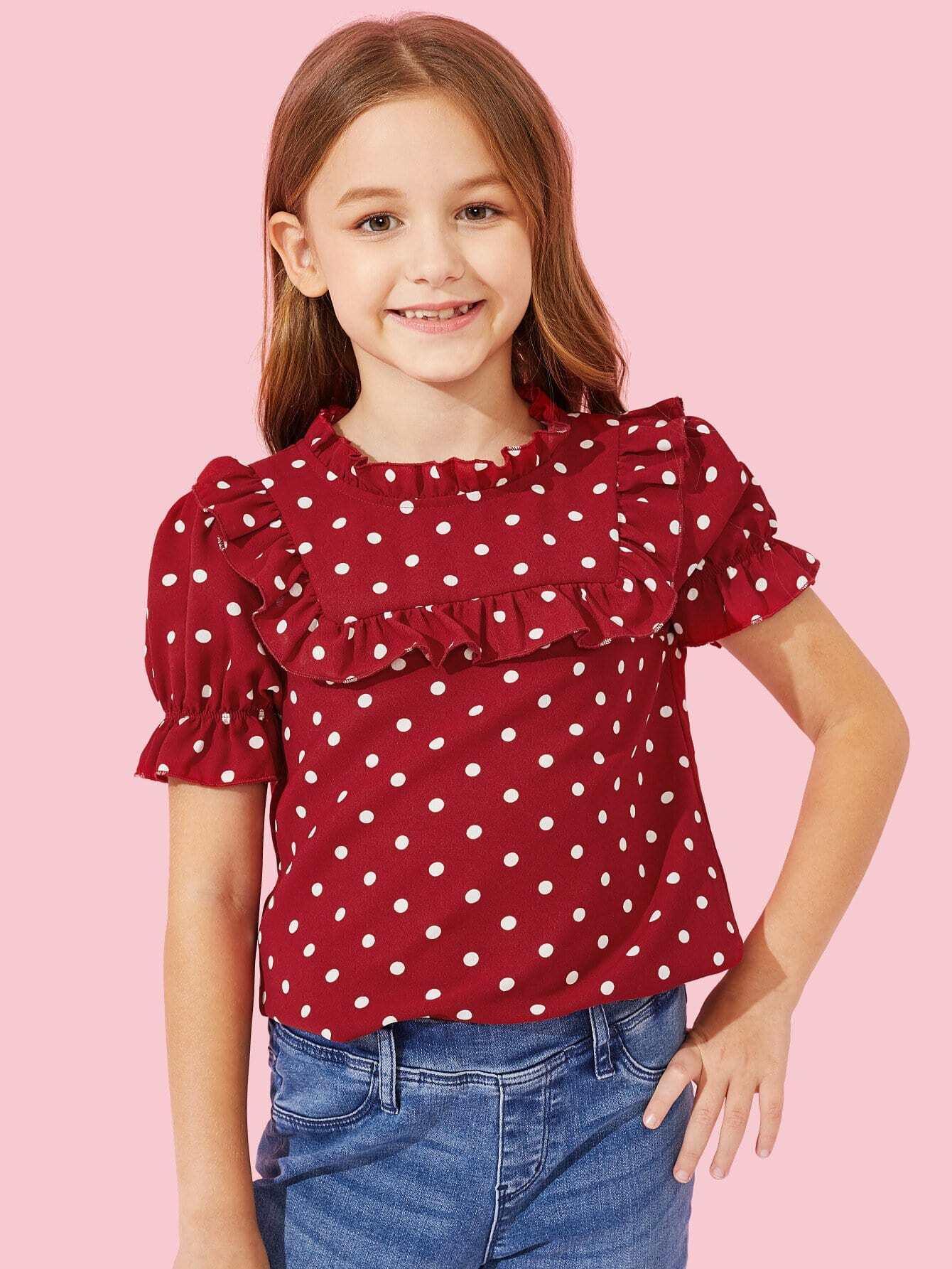 Купить Блузка с рисунками точки польки и с плиссированным воротником для девочки, Sashab, SheIn