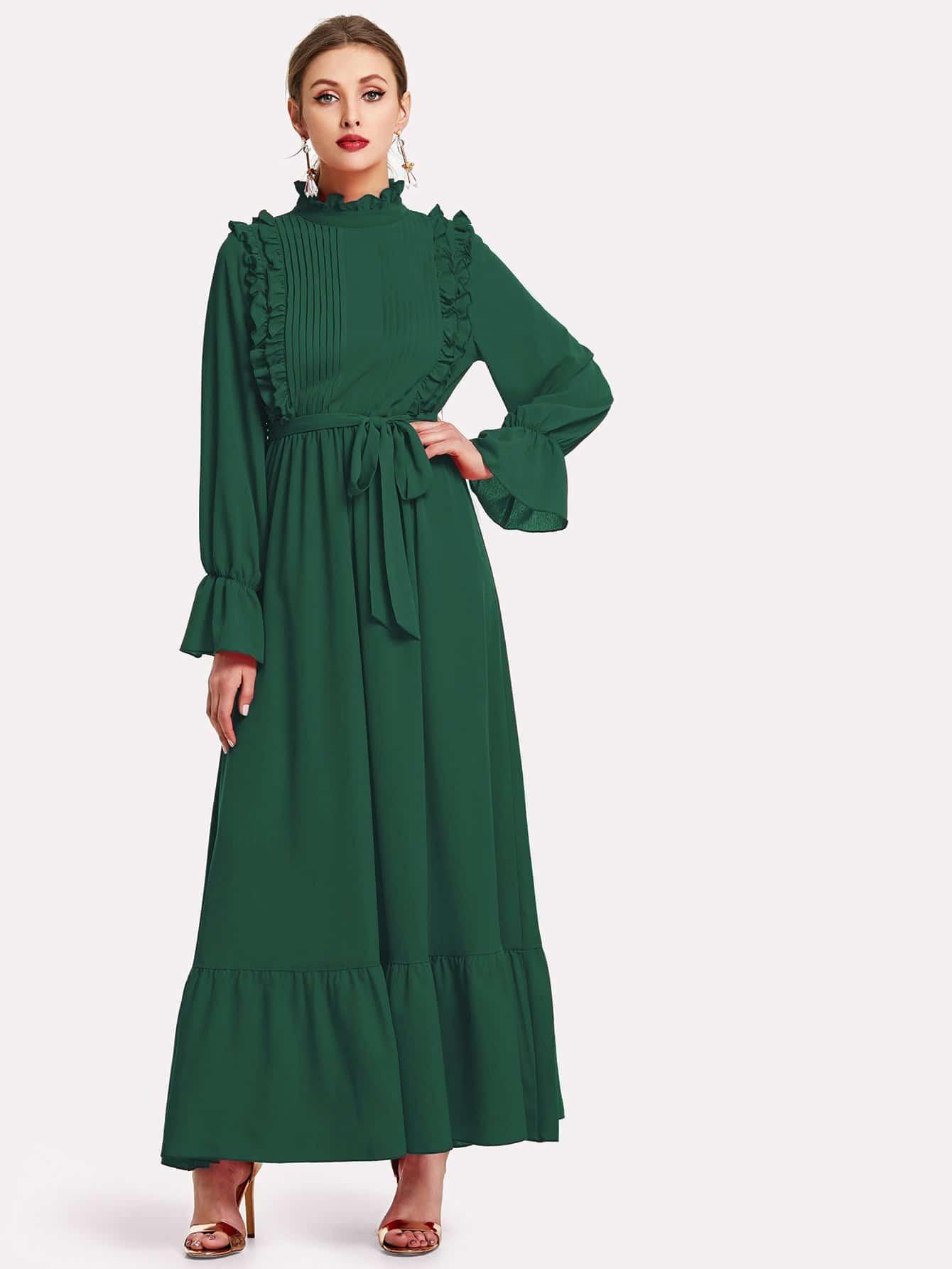 Купить С поясом платье с рукавом-колоколом и оборками, Dary, SheIn