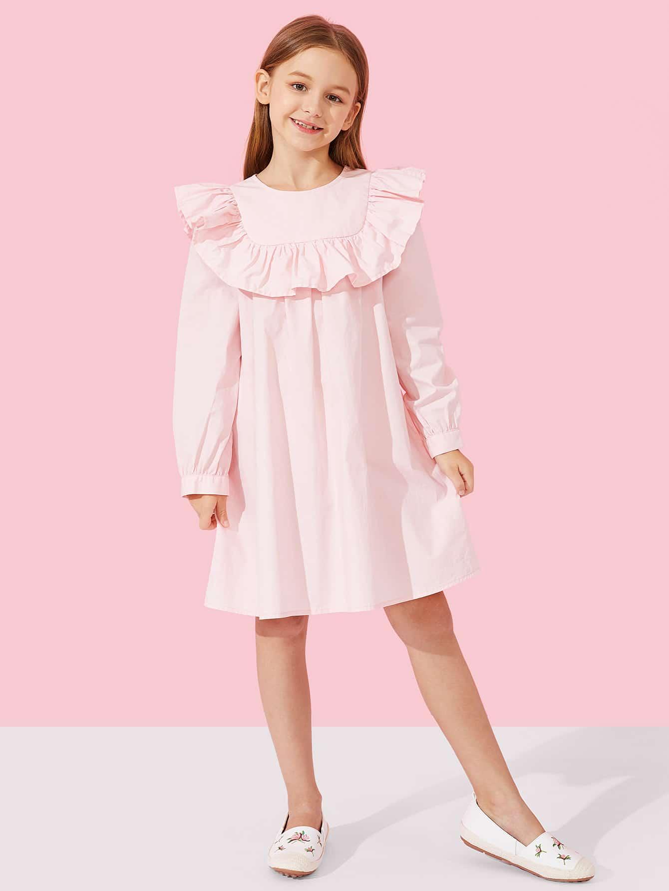 Купить Длинное платье с кружевными оборками и с застёжкой молния сзади одежды для девочки, Sashab, SheIn