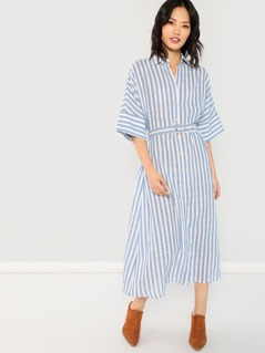 Waist Belted Collar Neck Striped Dress