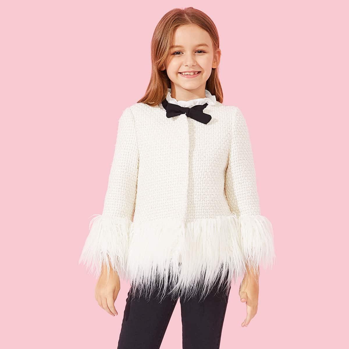 Девочка Кнопка Фальшивая кожаная куртка от SHEIN