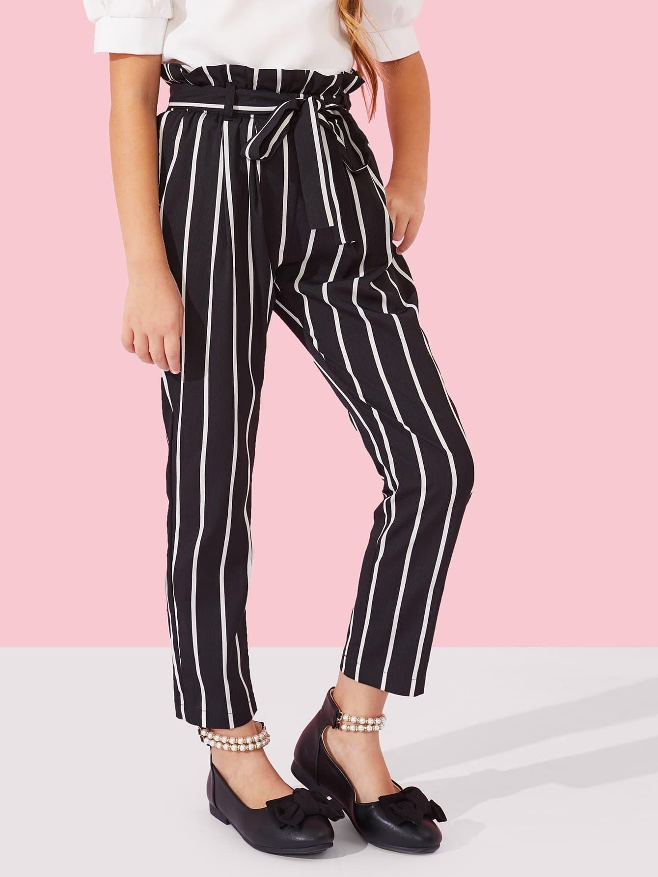 Купить Полосатые брюки с поясом для девочки, Sashab, SheIn
