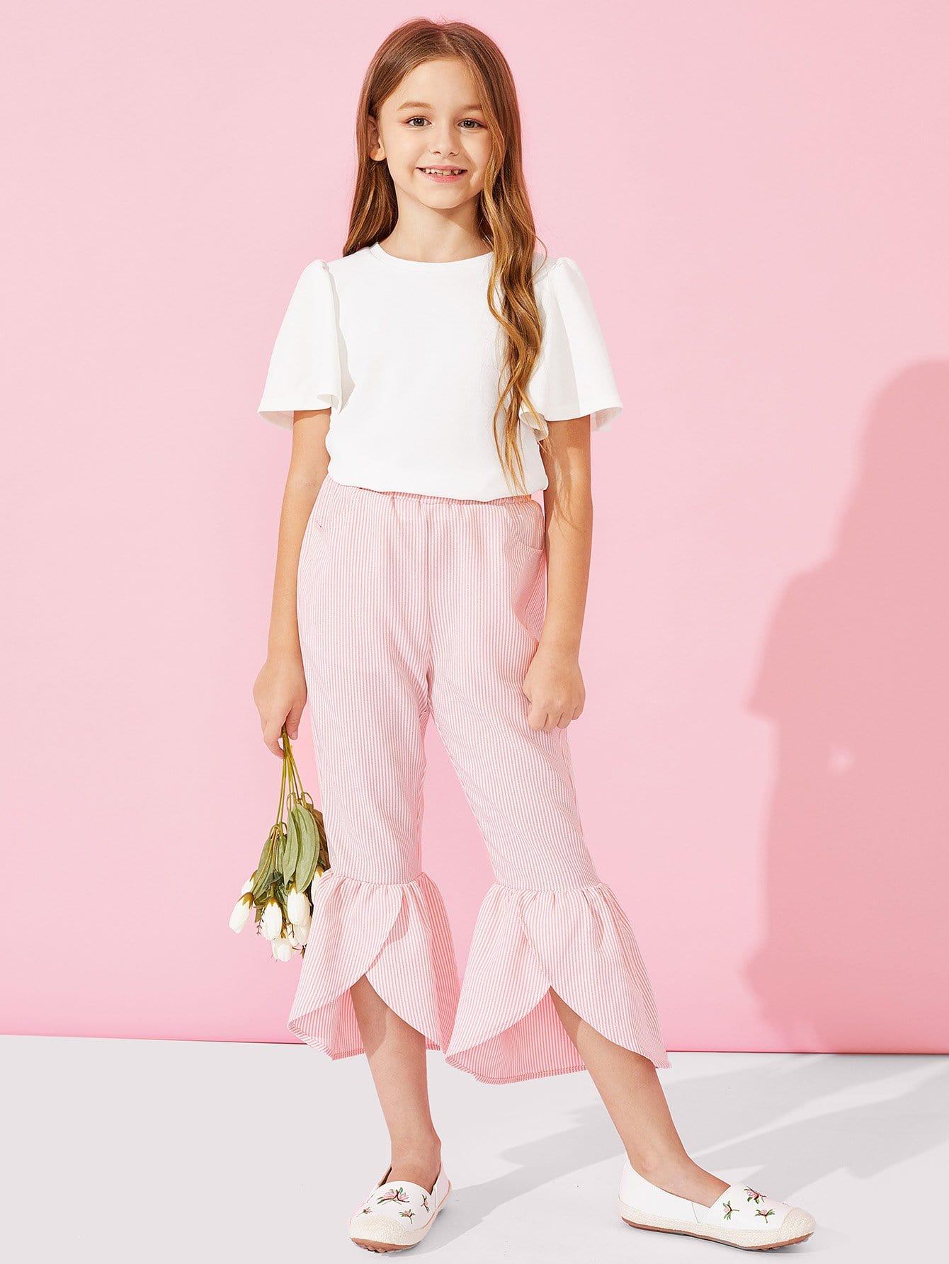 Купить Для девочик брюки-клёш с басоном эластичным, Sashab, SheIn