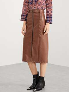 Zip Front Waist Belted Skirt