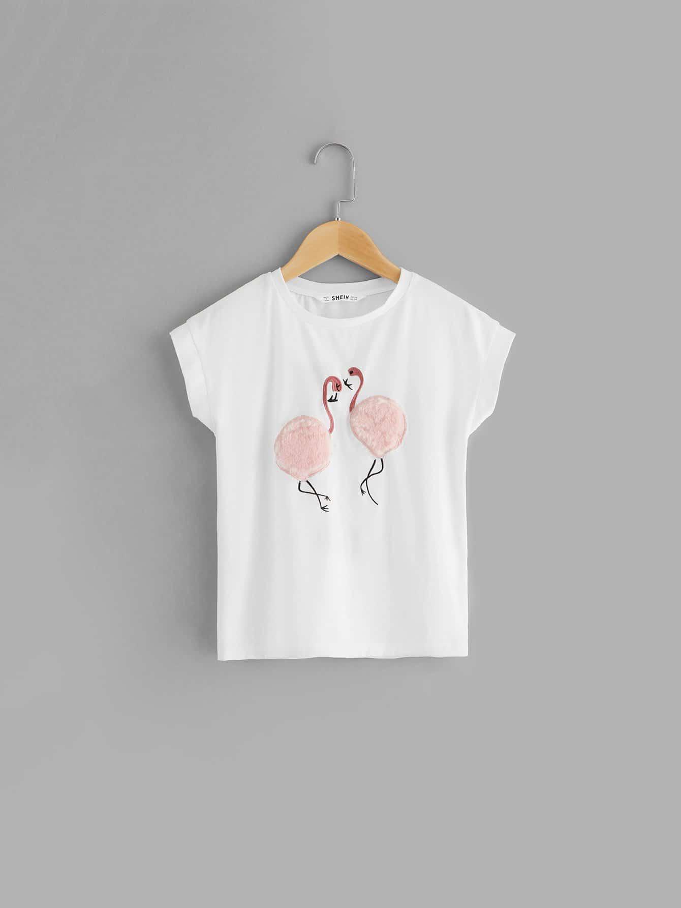 Купить Футболка с украшением фламинго и Pom Pom для девочки, null, SheIn