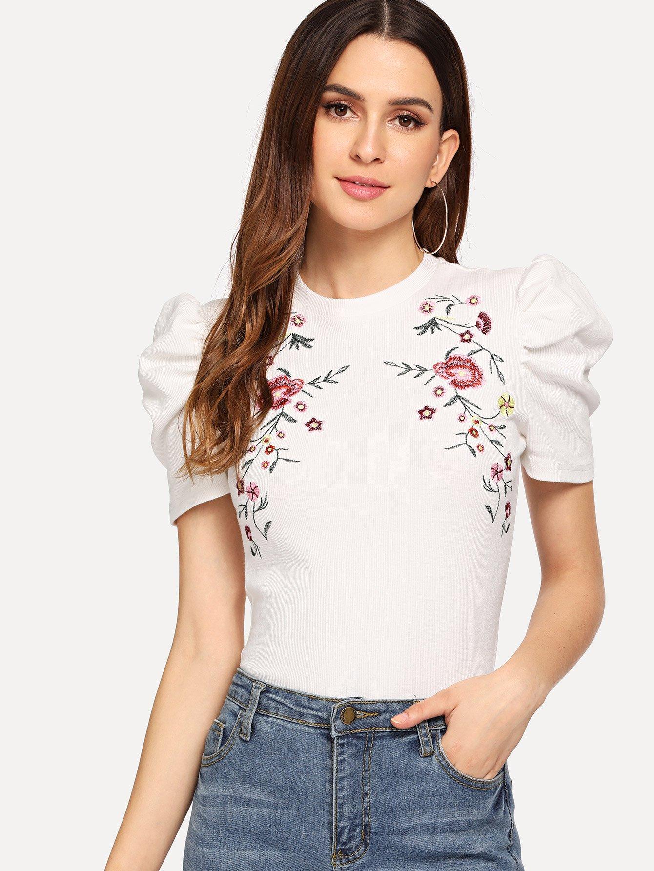 Купить С пышными рукавами футболка с вышивкой, Jana, SheIn