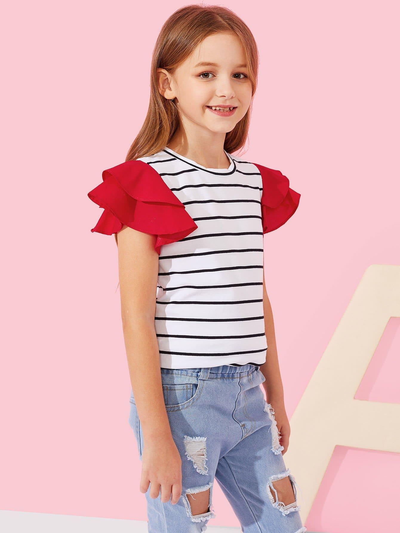 Купить Полосатая футболка с короткими рукавами для девочки, Sashab, SheIn