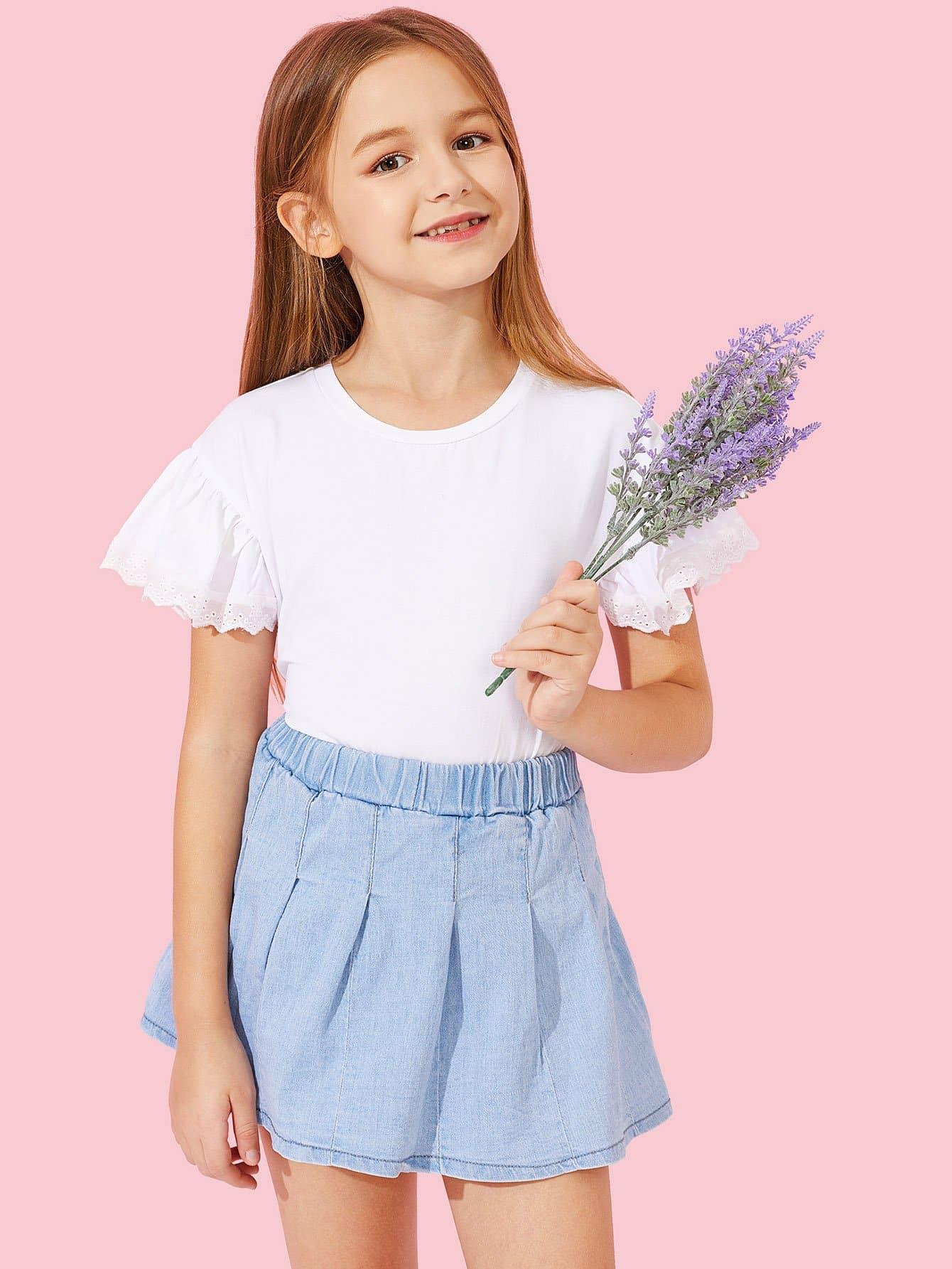 Купить Простая футболка и отверстие рукава с вышивкой для девочки, Sashab, SheIn