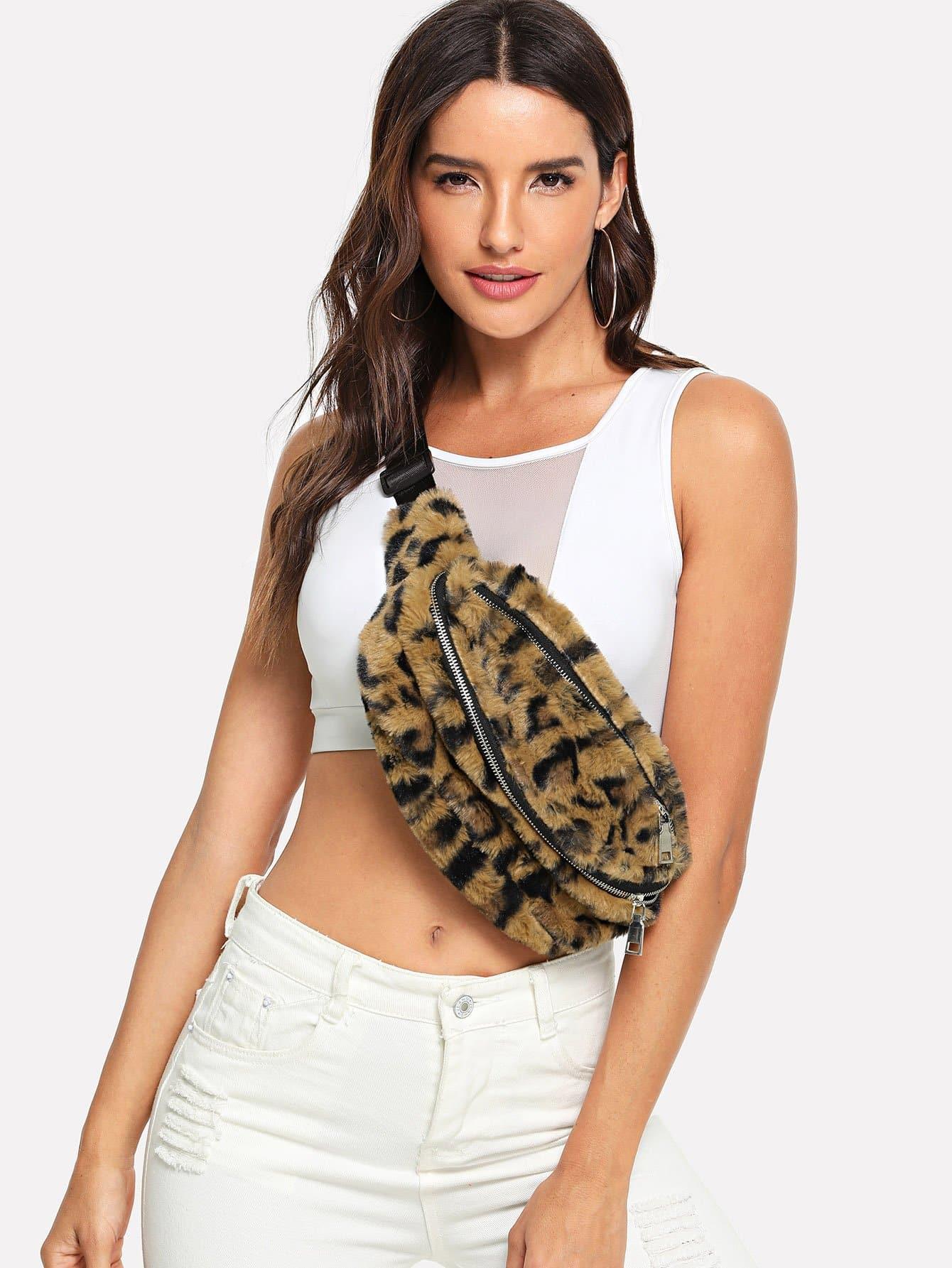 Faux Fur Leopard Pattern Bum Bag