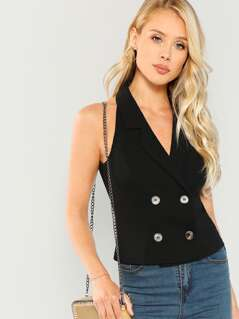 Double Button V-Neck Shell Top