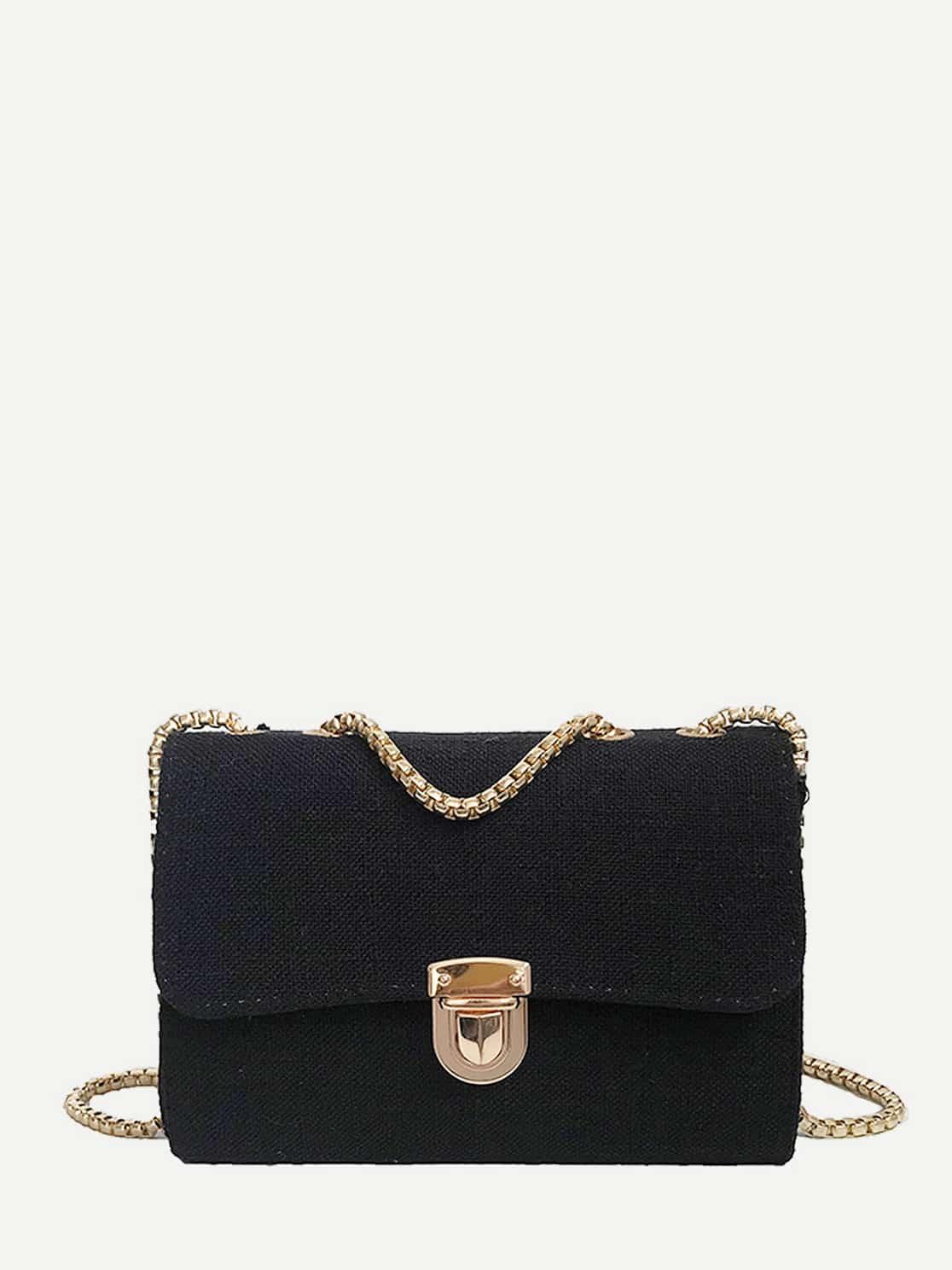 Push Lock Detail Chain Bag