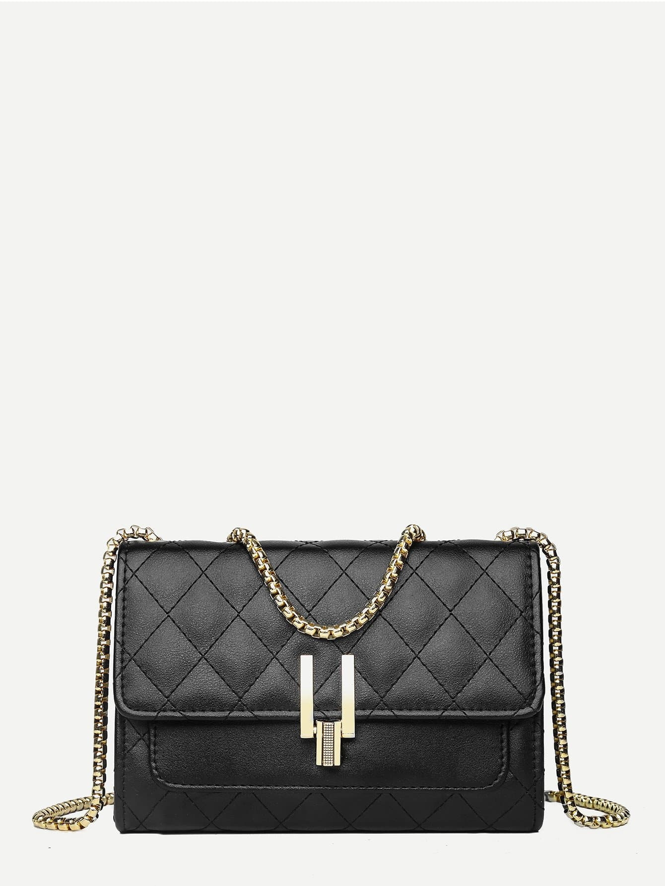 Quilted Detail Flap Chain Bag