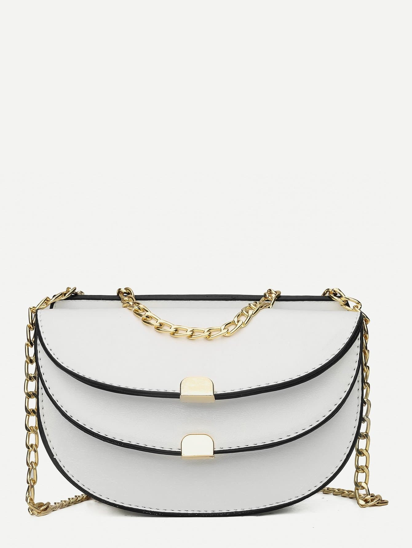 Metal Chain Detail Saddle Bag