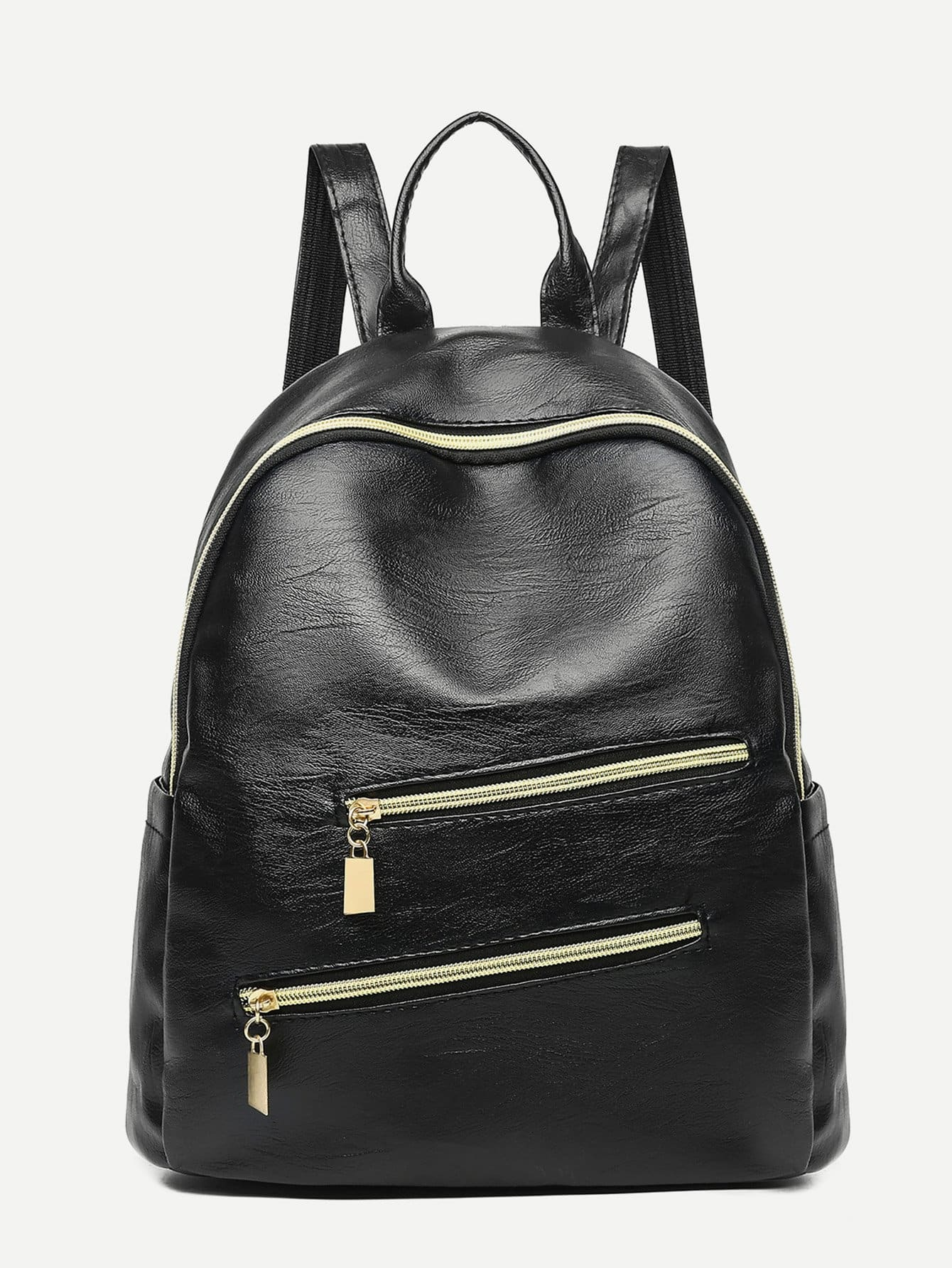 Double Zip Front Decor Backpack