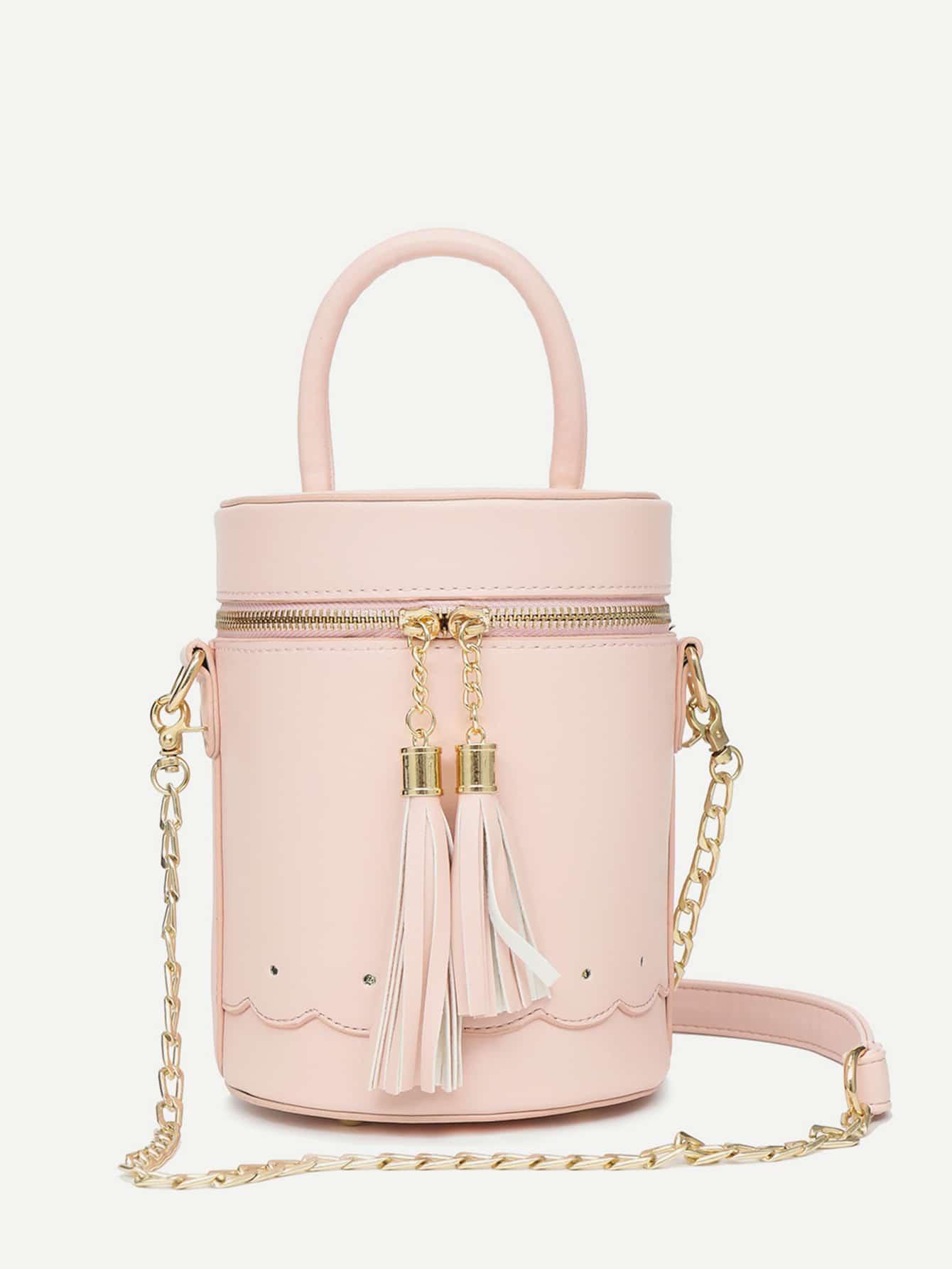 Tassel Decor Scalloped Detail Bucket Bag