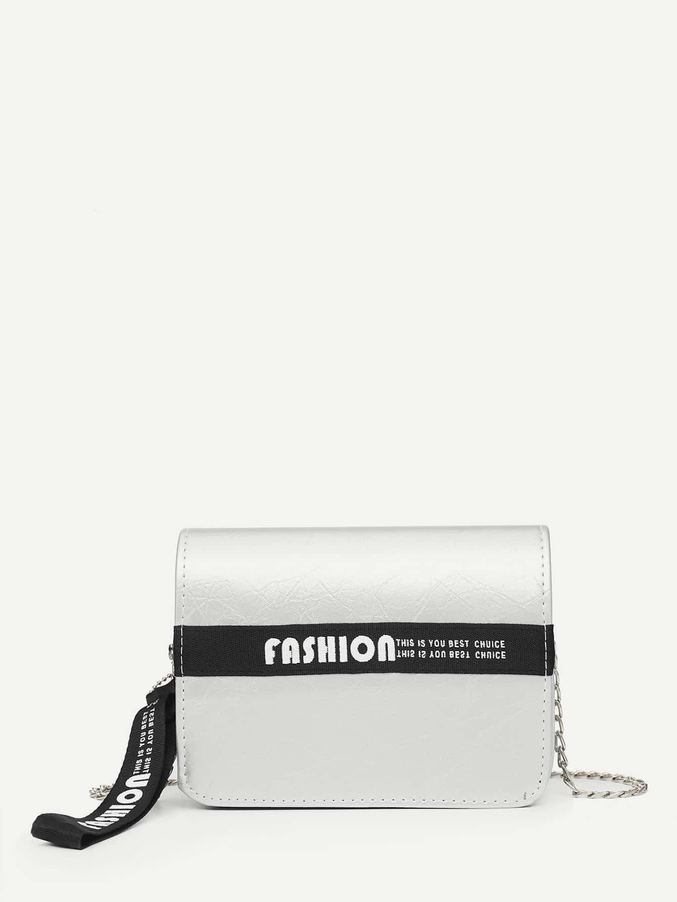 Slogan Detail Chain Bag