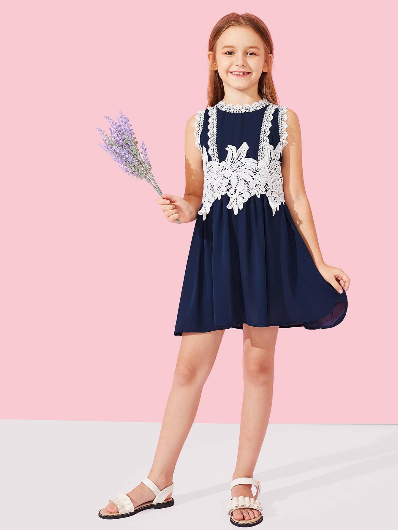 Платье для девочек Lace Contrast Appliques Shell