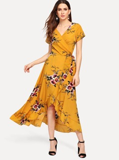 Waist Knot Wrap Floral Dress