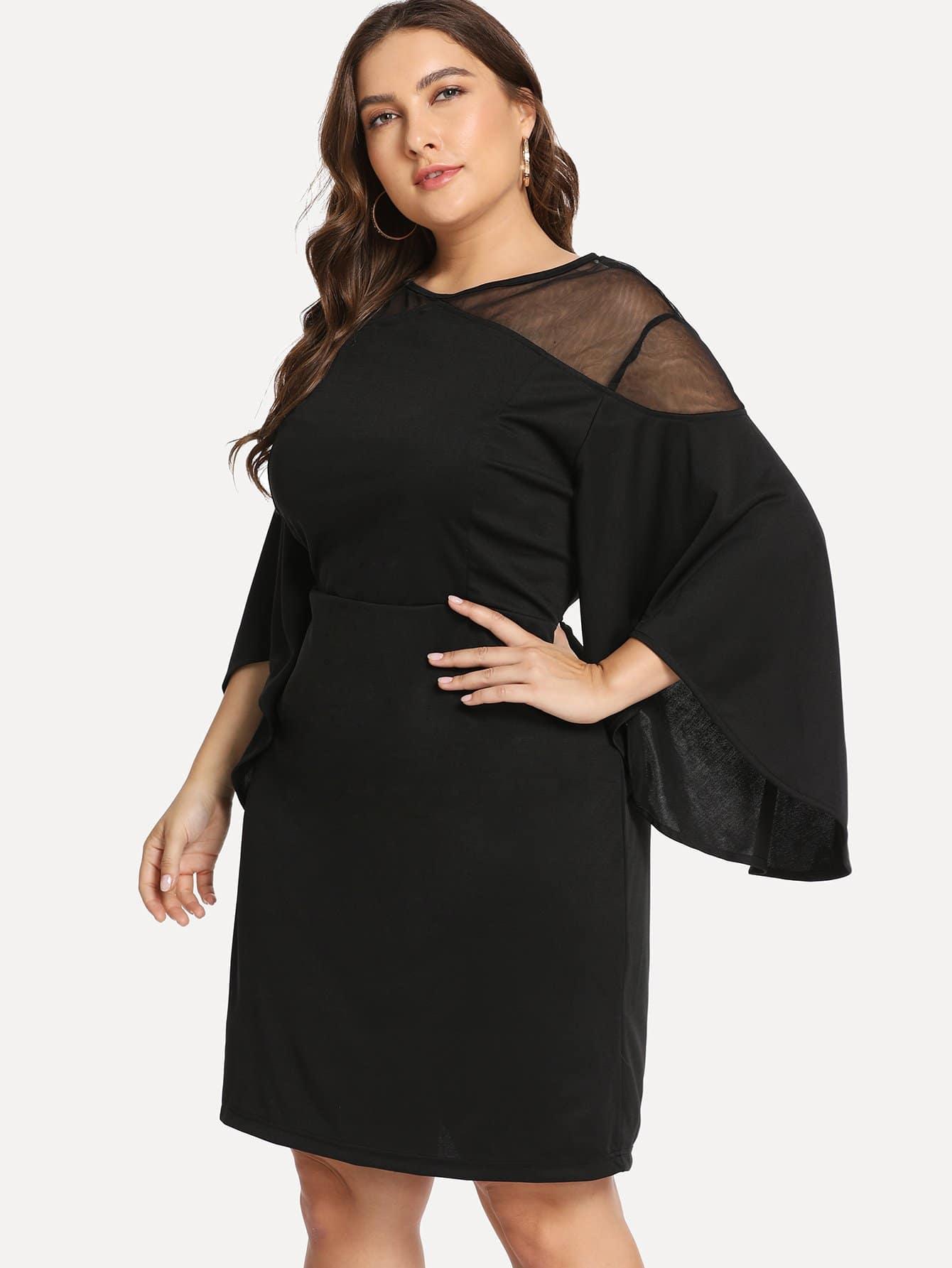 Плюс размеры вставки сетки платье