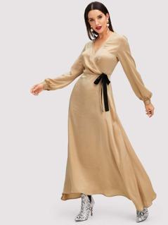 Wrap Front Long Sleeve Dress