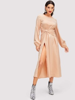 Ruched Belted Waist Split Dress