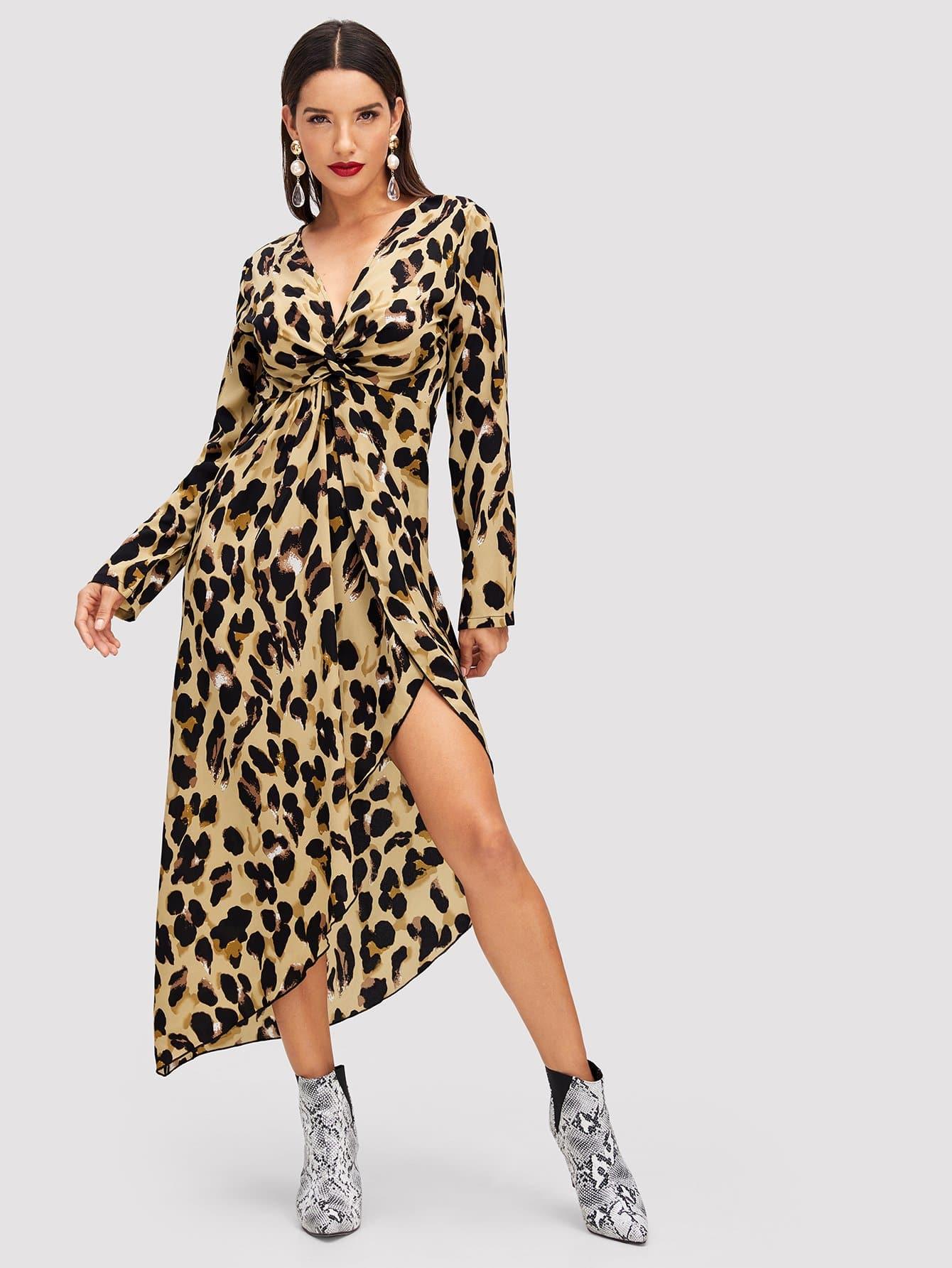Купить Леопардовое асимметричное платье витой спереди, Juliana, SheIn