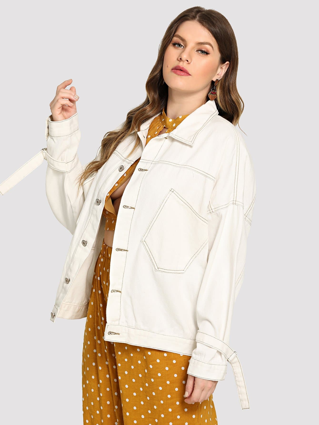 Купить Большая ветровка с украшением пуговицы и кармана, Isabela, SheIn