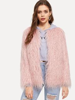 Open Front Solid Faux Fur Coat