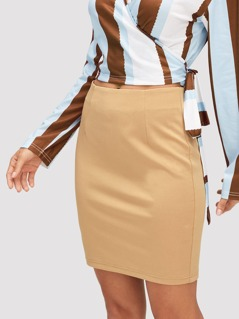 Zip Side Solid Skirt