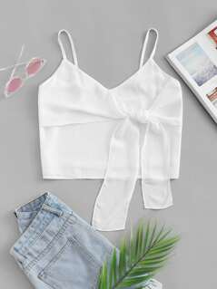 Ruffle Embellished Knot Cami Top