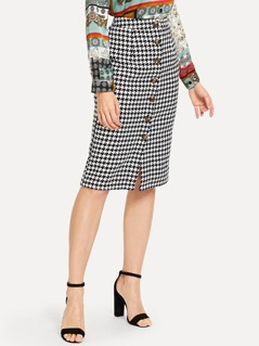 Button Up Houndstooth Skirt
