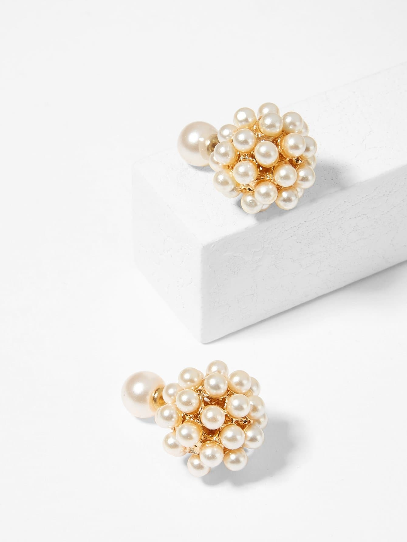 Faux Pearl Decorated Ball Stud Earrings