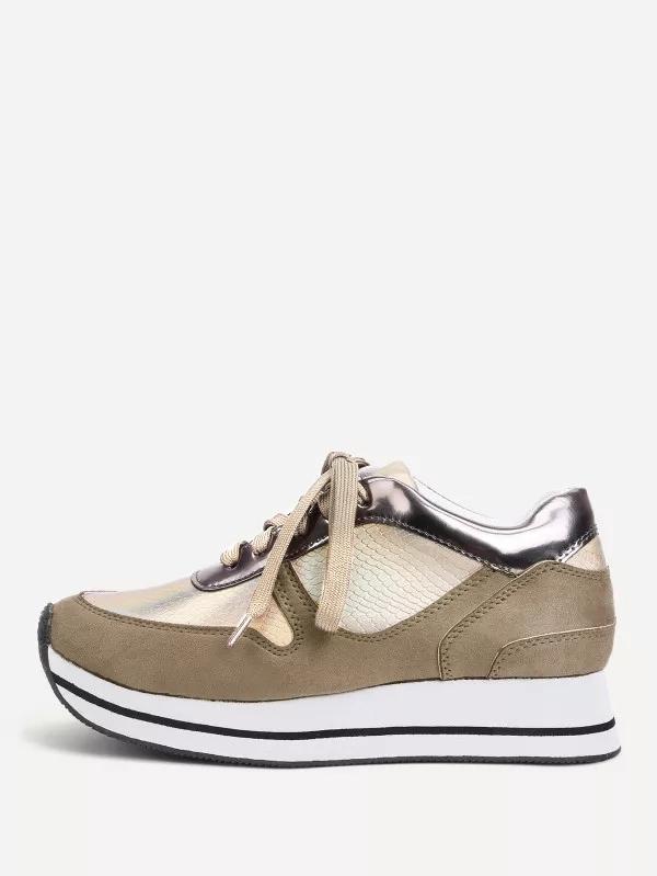 Купить Модные кожаные кроссовки со шнуровкой, null, SheIn