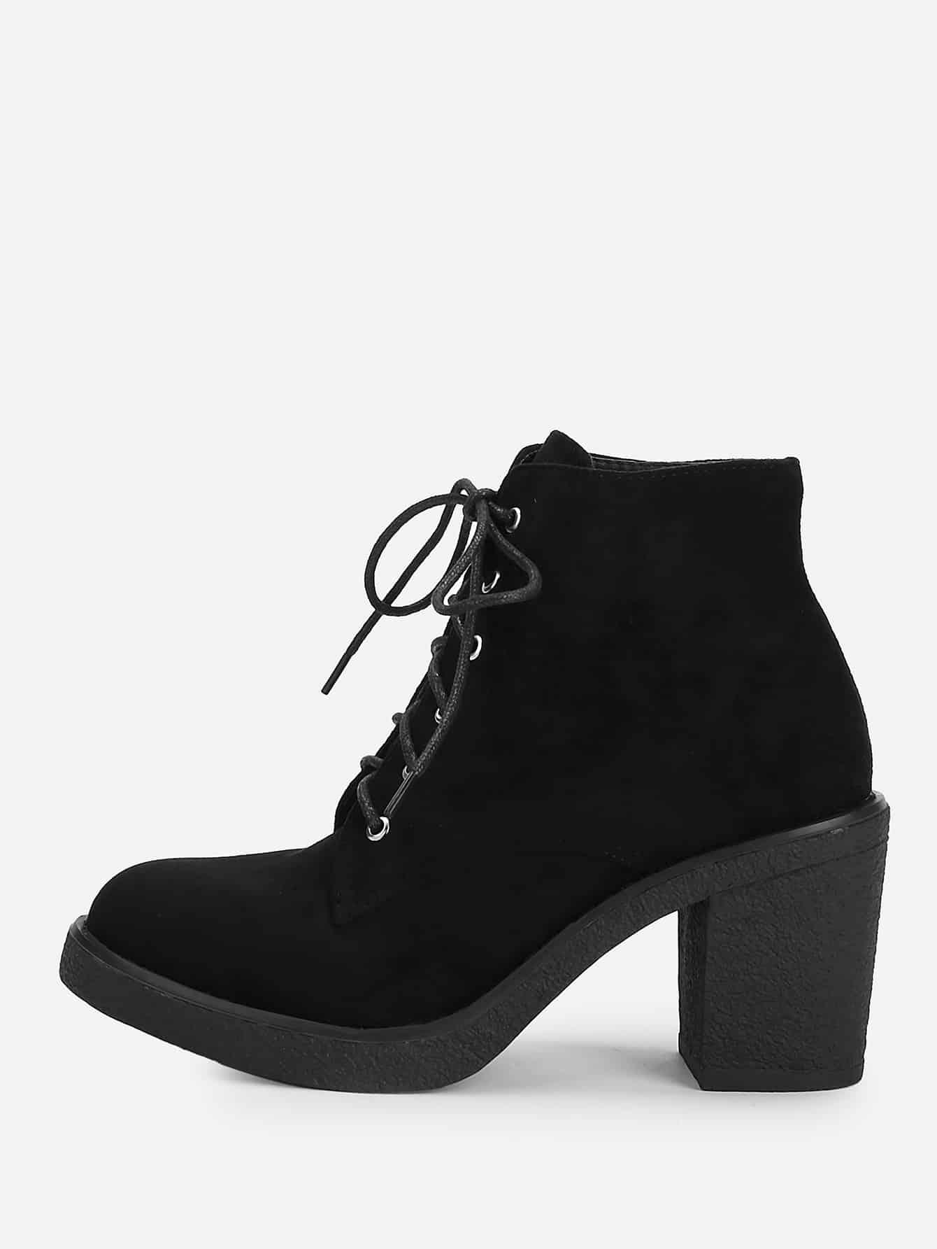 Купить Короткие сапоги на высоких каблуках с шнурками, null, SheIn