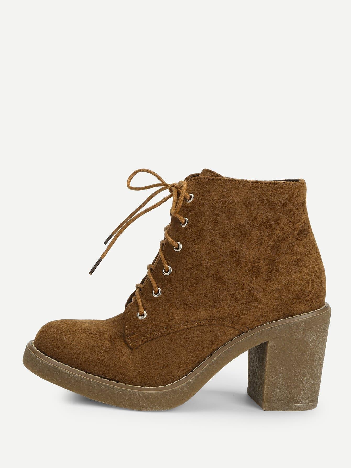 Купить Сапоги на высоких кусковых каблуках с шнурками, null, SheIn