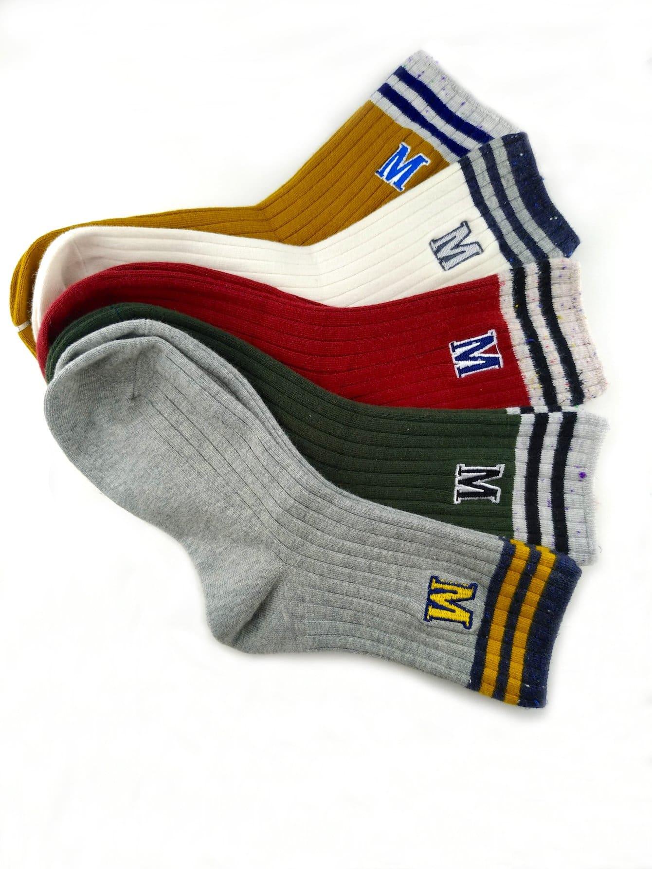 Gerippte Socken 5Paare mit Buchstaben Stickereien