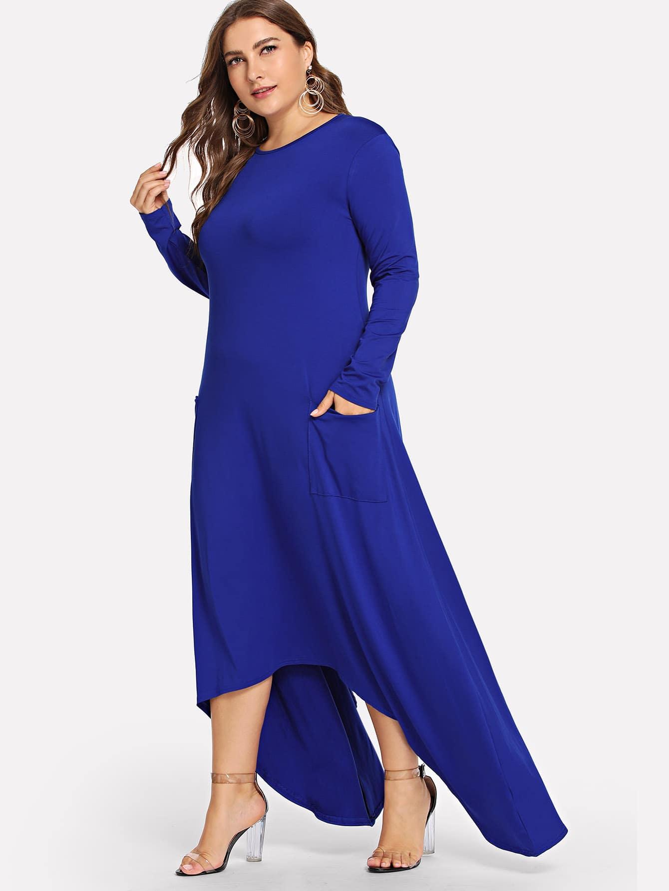 Plus Asymmetric Hem Plain Dress