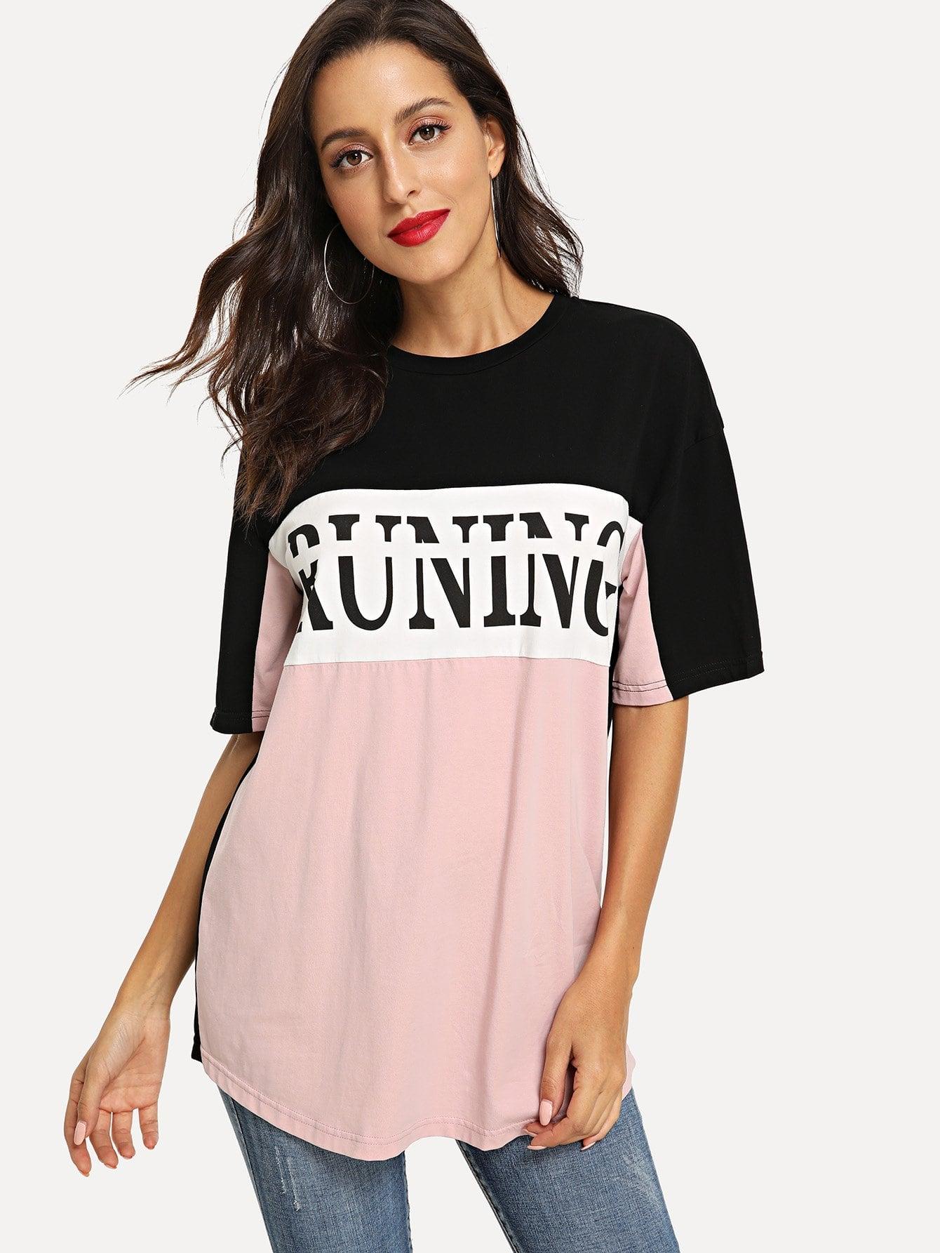 Купить Контрастная футболка с принтом букв, Mary P., SheIn