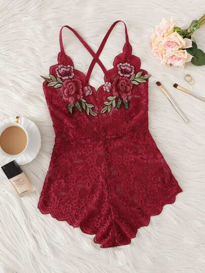 0f5ad2afe6a ... Criss Cross Appliques Lace Teddy Bodysuit