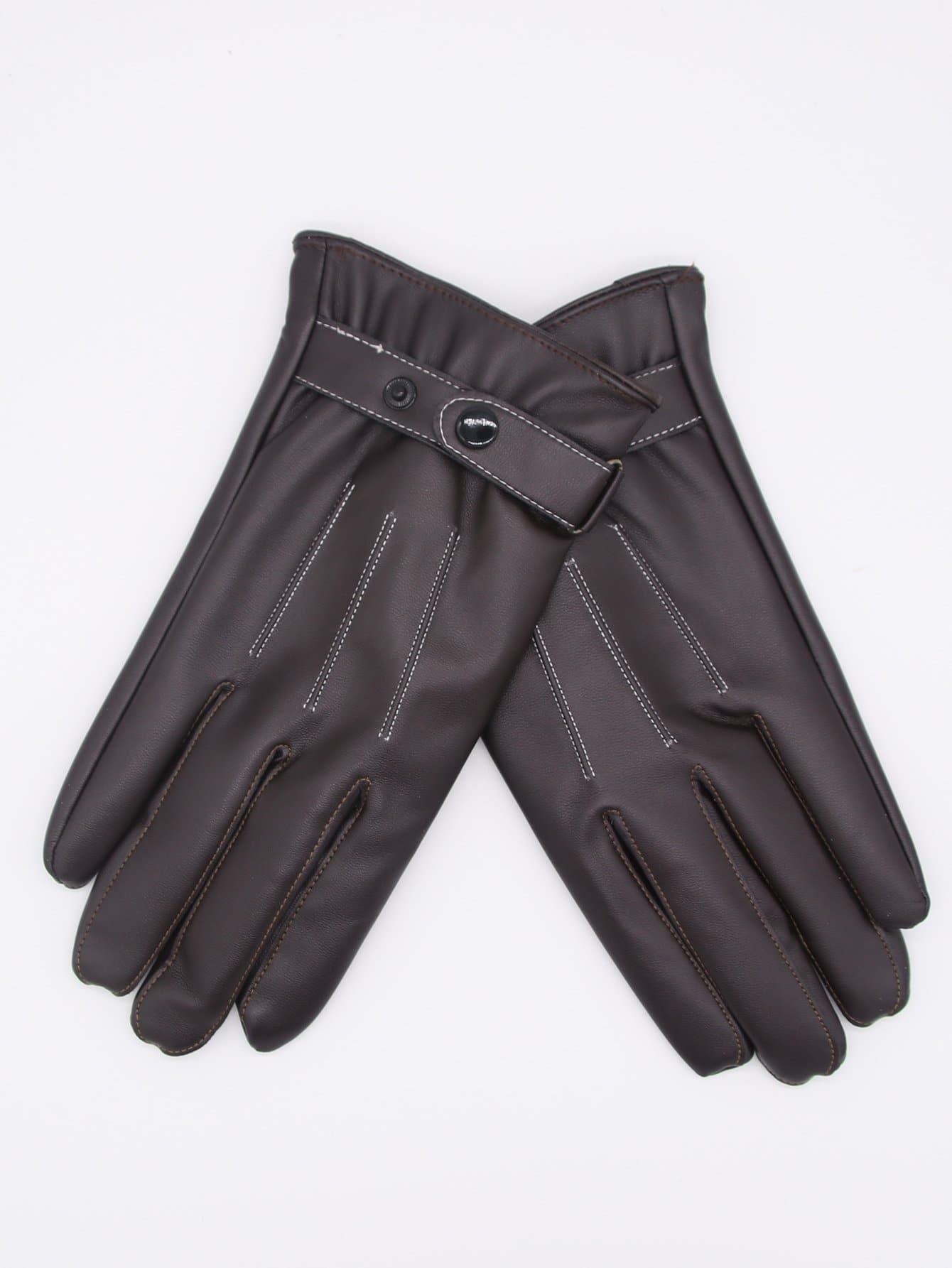 Мужские Наручные Пряжки PU Кожаные Перчатки