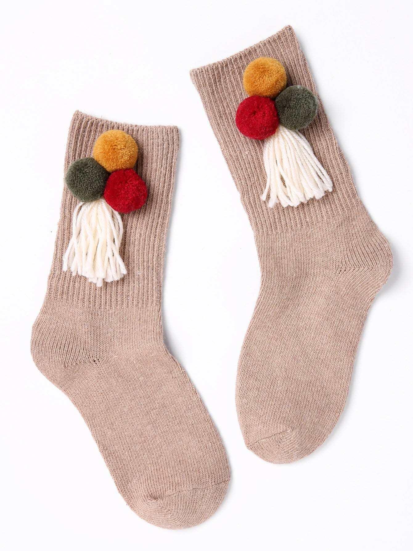 Socken 1Paar mit Pompons Dekor