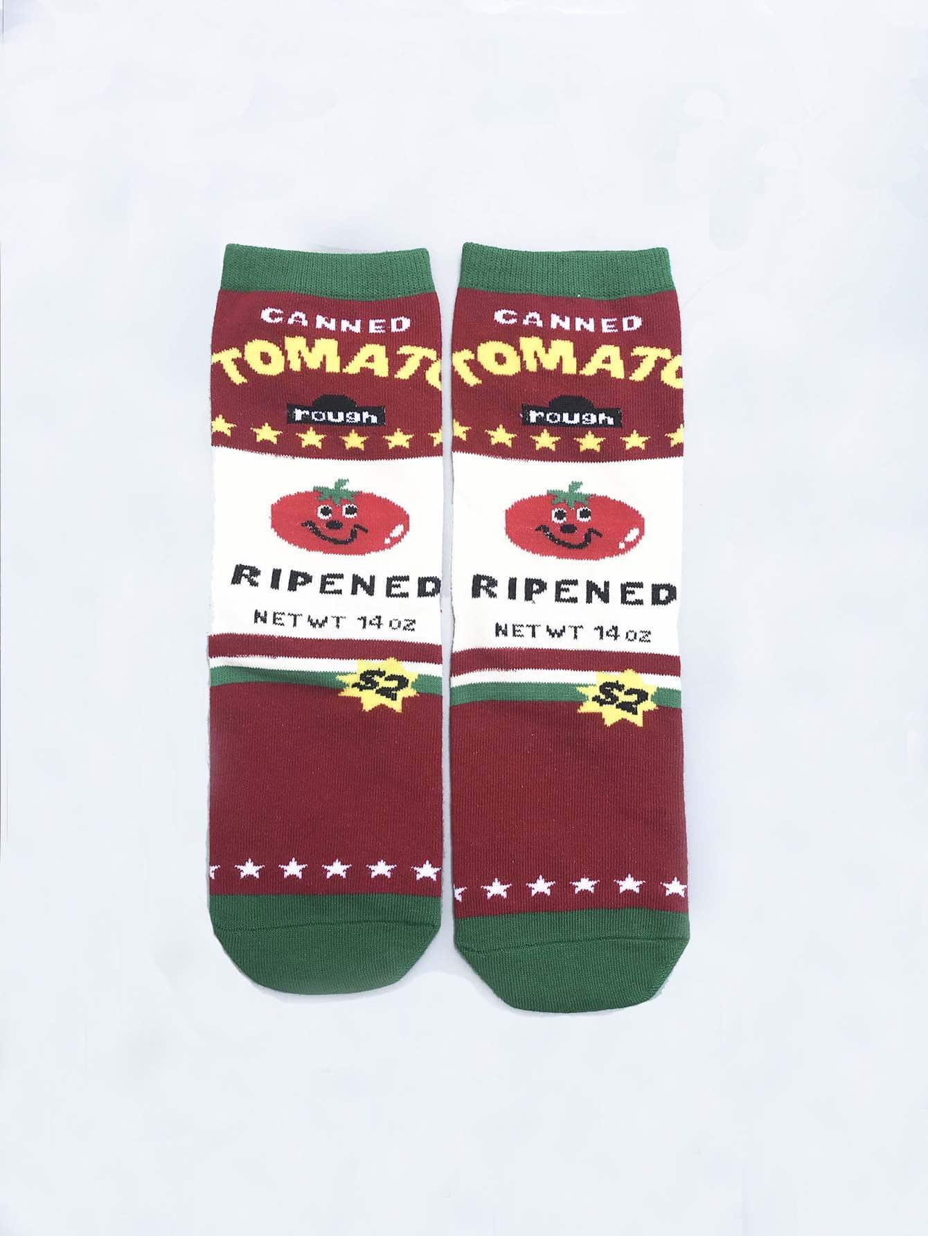 Socken 1Paar mit Buchstaben und Tomate Muster