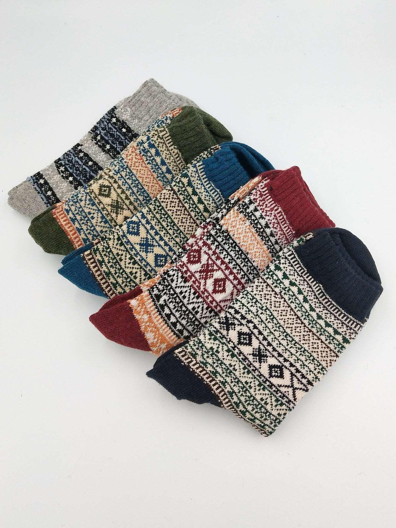 Men Tribal Print Socks 5pairs