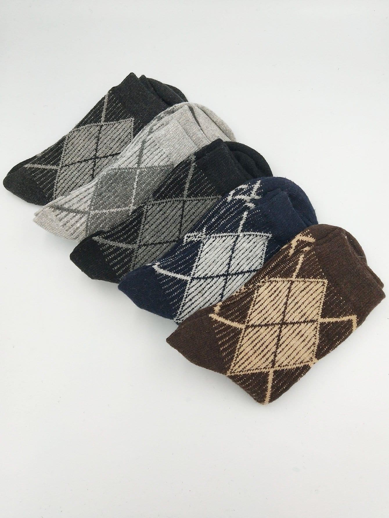 Männer Socken 5Paare mit Diamond Muster